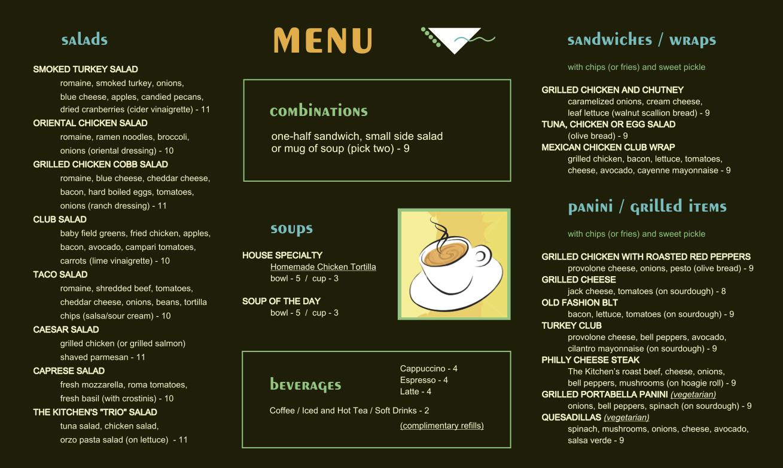 Menu Board Kitchen Cafe Dallas